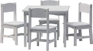 Set di mobili per bambini - ENZO - Tavolo e 4 sedie legno bianco ...
