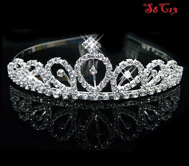Princess Bridal Crystal Wedding Hair Tiara Crown Prom Veil Headband Party S8C13