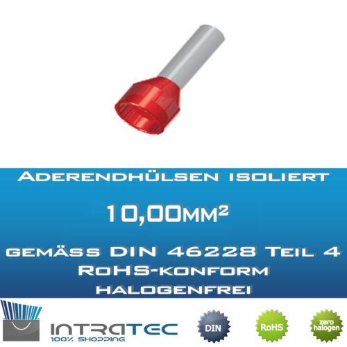 secondo DIN 100stk dimensioni bossoli 12,0mm-18 Terminatore isolati 0mm 10,0mm²