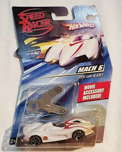 2007-Hot-Wheels-Speed-Racer-MACH-6-Race-Car-with-Movie-Accessory-Saw-Blades