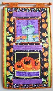 Halloween-Scaredy-Cats-Pumpkins-Wallhanging-Handmade-Finished-Quilt-REDUCED