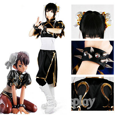 Street Fighter Chun Li Black Cosplay Costume Women Clothing