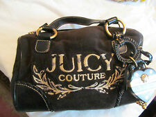 juicy couture black cloth and leather bag