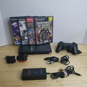 Sony Playstation 2 PS2 Slim Bundle, Controller, Cords, 4 Games #TESTED & WORKING