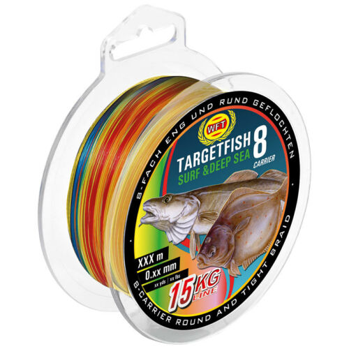 0,08€//m WFT TF8  Target Fish 8fach rundgeflochten Surf Deep Sea 300m multicolor