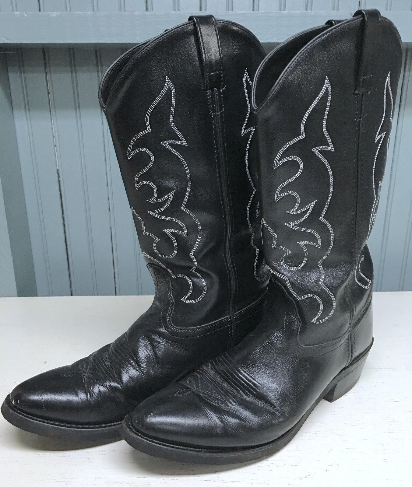 Black Old West Leather Cowboy Boots Size 10D Mens Excellent Excellent Mens 298185