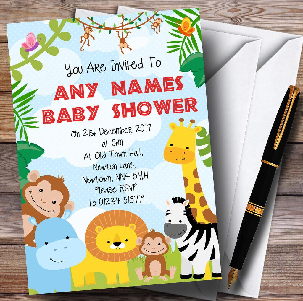 Bright Bright Bright Safari Jungle Animals Invitations Baby Shower Invitations 750689