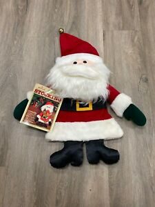 Vintage-1981-Hallmark-Hanging-Plush-Santa-Christmas-Stocking-Bag-New-W-tag-Rare