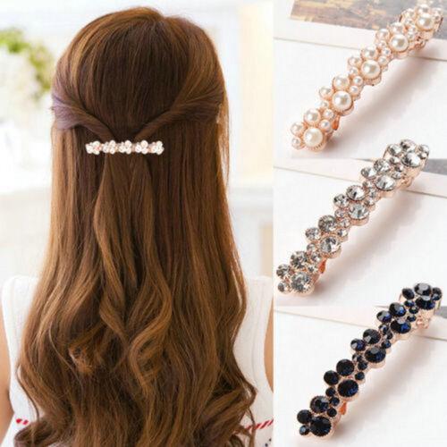 Women Girls Barrettes Hair Clip Crystal Elegant Pearl Hairpin Barrette Headdress