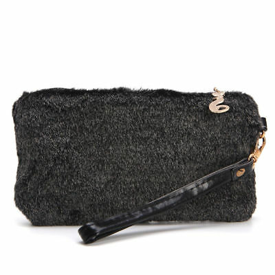 LADIES WHITE FAUX FUR CLUTCH BAG WITH WRIST STRAP