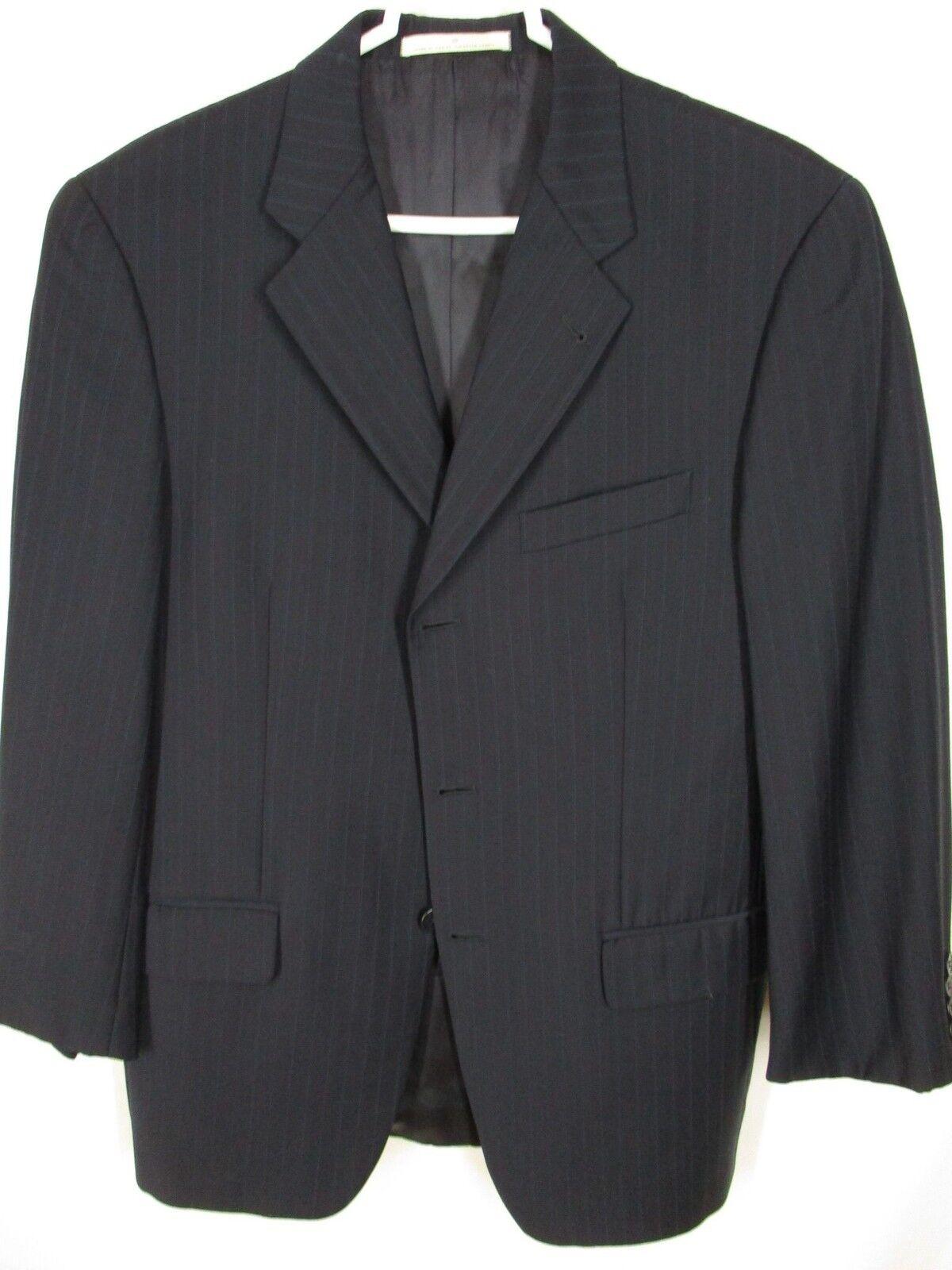 Joseph Abboud Mens Navy Stripe 3 Btn Suit 38S USA Made