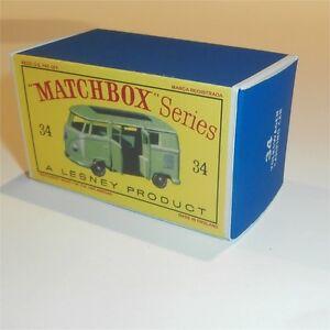 Matchbox Lesney 34 d Volkswagen VW Silver Camper empty Repro F style Box