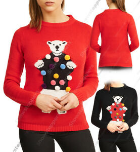 NEW-Ladies-Christmas-Jumper-Womens-Xmas-Top-3D-Polar-Bear-Red-Size-10-12-14-16