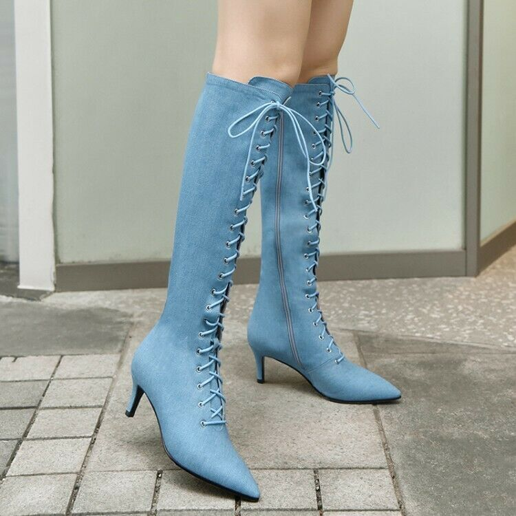 Women Lace Up Up Up Slim Med Heel Denim Pointed Toe bluee Knee High Boots Fashion shoes e9956c