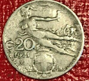 A VERY FINE VF 1921 R ITALY 20 CENTESIMI COIN-FLYING NUDE