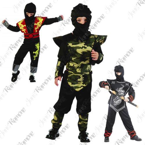 Kids Ninja Dragon Silver Army Samurai Warrior Costume Book Week Day Fancy Dress
