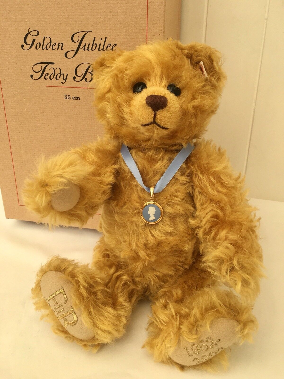 Steiff Golden Jubilee Teddy Bear - Ltd Edition - - - 2002 - Gold - 32cm -  660610 3a7397