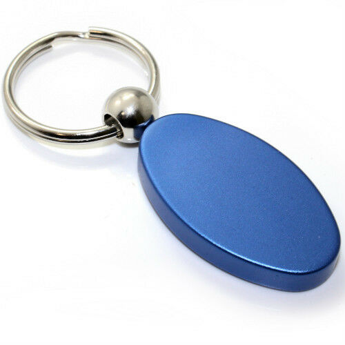 Blue Aluminum Metal Oval Ford F150 Logo Key Chain Fob Chrome Ring