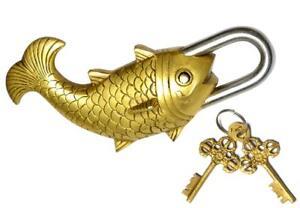 Laton-Fish-Pad-Lock-con-Dos-Llaves-Vastu-Coleccionable-Lock-Feng-Shui-Hecho