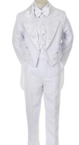 Gold Baby Toddler Boy Church Communion Baptism Tuxedo Suit S M L XL 2T-7 WHITE