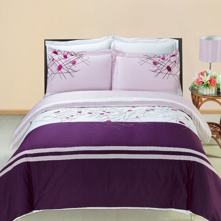 Cherry Embroidered 3PC Duvet Cover Sets CombedCotton Soft & Bold colors 300TC