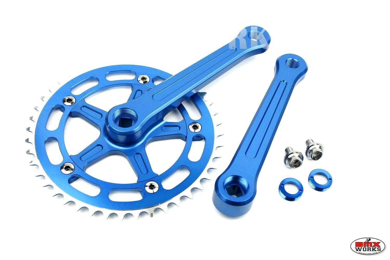 ProBMX BMX 3 Piece Aluminium Cranks Set Blau Old School BMX Style Modern Quality