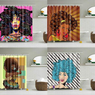 Cartoon African Afro Turban Black Woman Waterpoof Fabric Shower Curtain Hooks