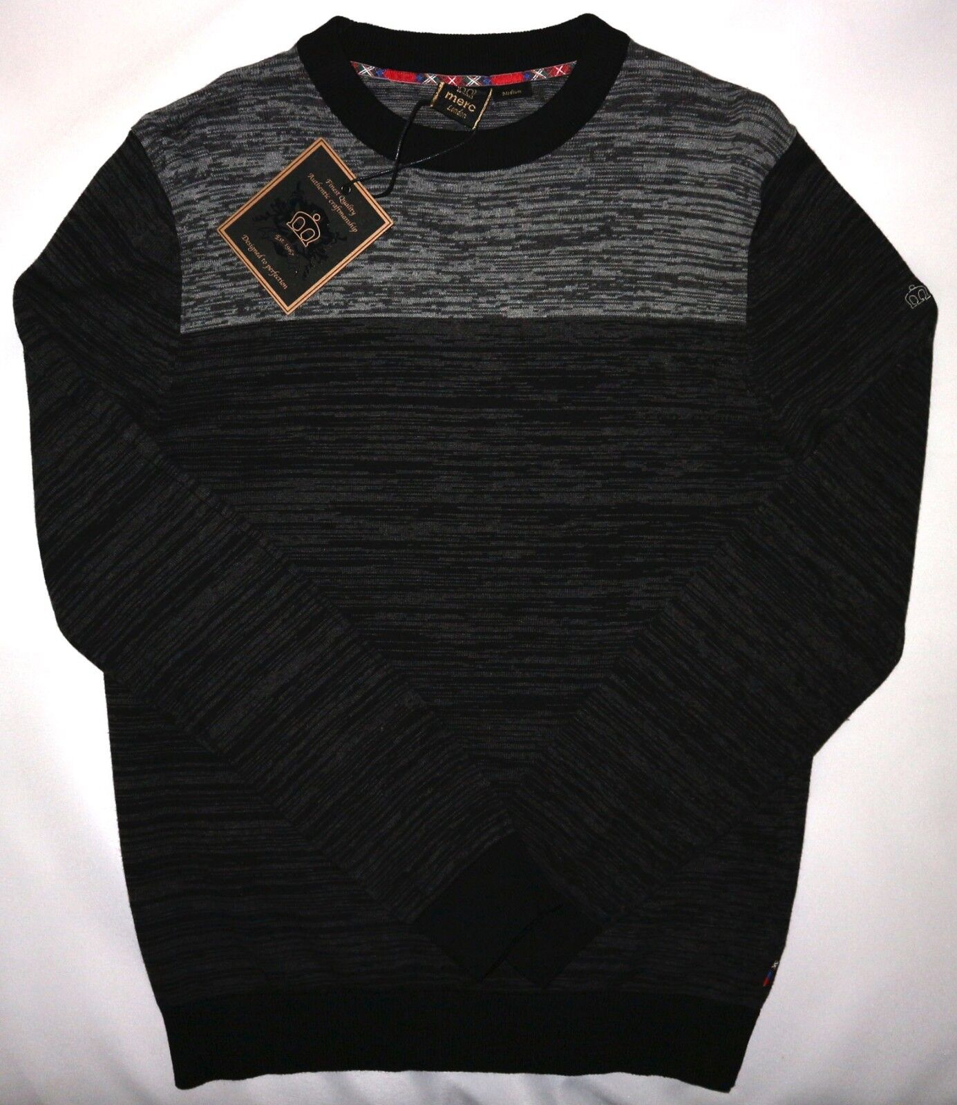 MERC LONDON  Herren SPACE-DYED JUMPER IN MARL CHARCOAL SIZE M NWT