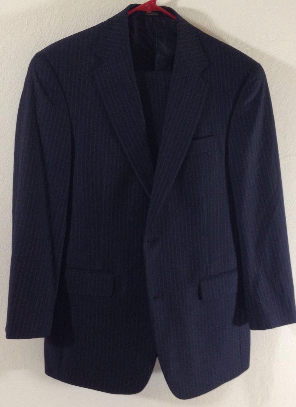 Hart Schaffner & Marx gold Trumpeter 40R Wool Suit bluee Striped 30W 27L