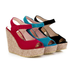 Womens-Peep-Toe-Slingback-Sandals-Wedge-Heels-High-Platform-Strappy-Shoes-Size-8