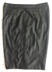 rock-bottom price world-wide renown high quality guarantee Details about George Asda Faux Leather Pencil Skirt Black Split Fake  Pockets 33