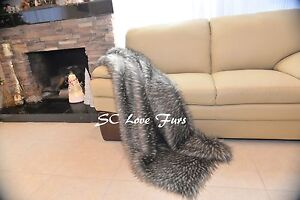 """60"""" 72"""" 84"""" Silvery Gray New Exotic Wolf Exotic Coyote Made USA Throws Blankets"""