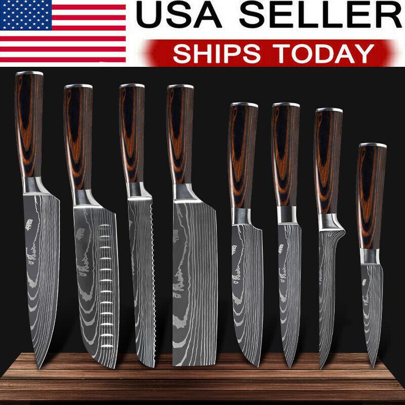 Ryuu Cutlery Damascus 8 Piece Knife Block Set For Sale Online Ebay