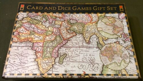 """Map""Card And Dice Game Gift Set great shape cards dice sealed + Pen"