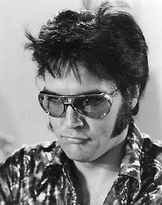 176eb210420 Vtg Black   White Portrait of ELVIS PRESLEY Head Shot W  Sunglasses ...