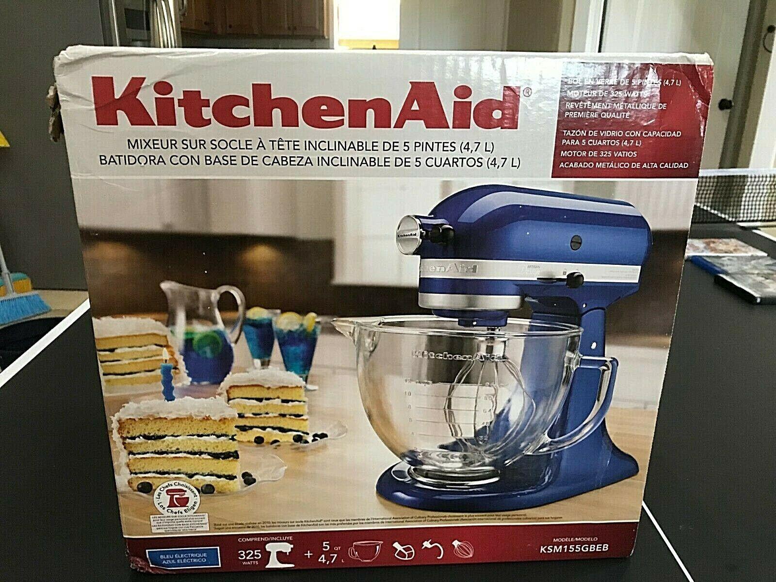 KitchenAid Tilt Artisan KSM155GB bleu électrique Stand Mixer Bol en verre 5 Qt