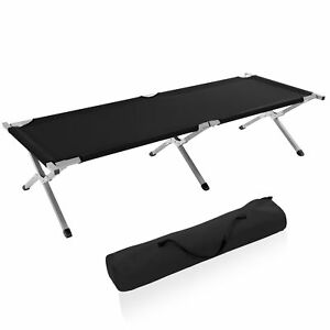Campo-XL-cama-cama-de-camping-cama-tumbona-cama-de-invitados-cama-plegable-150kg-negro-bolsa