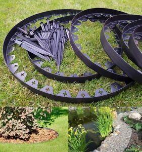 Garden Lawn Edging Flexible Plastic Garden Border 10m 50 Strong Pegs