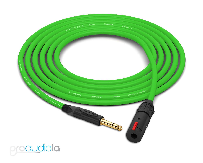 Canare Quad L-4E6S Headphone Extension Cable   Neutrik Gold TRS   Grün 50 Feet