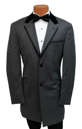 Beautiful Gray 2 Button Tuxedo Blazer w// Black Velvet Collar Formal Wedding Coat