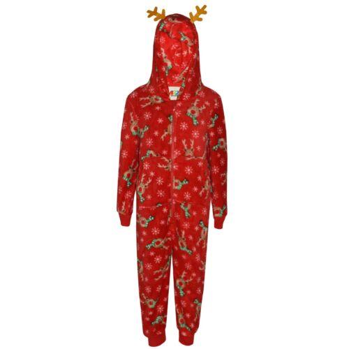 Kids Girls Boys Rudolph Xmas Costume A2Z Onesie One Piece Soft Fluffy 2-13 Years