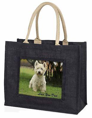 West Highland Terrier' liebe Dich Papa' große schwarze Einkaufstasche Christus,