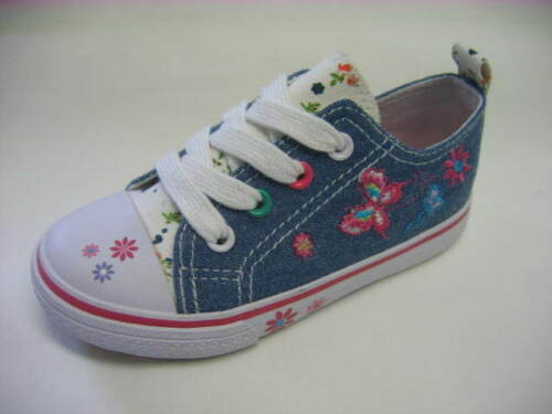 Infant girls Scuffles brand denim flower embroidered canvas shoes Aimee UK 4-9
