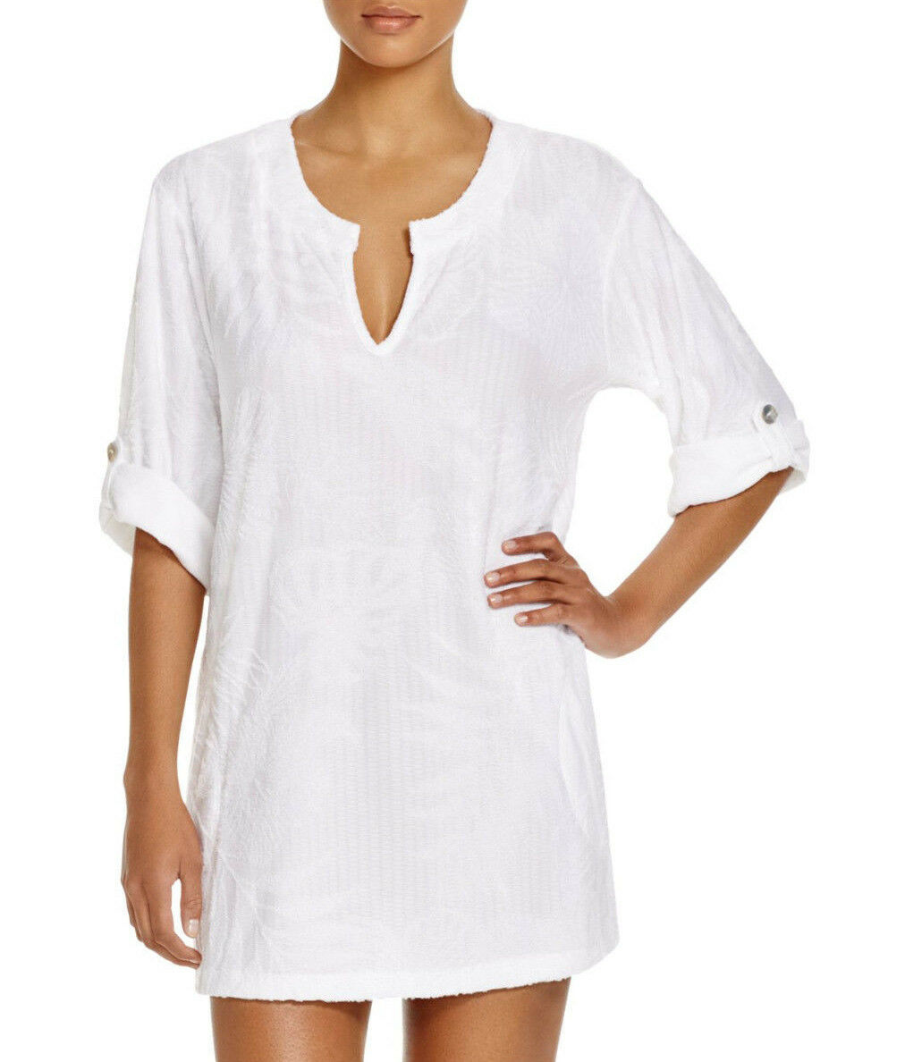 NEW J Valdi Tropical Terry Tunic Swim Cover Up White size S Small