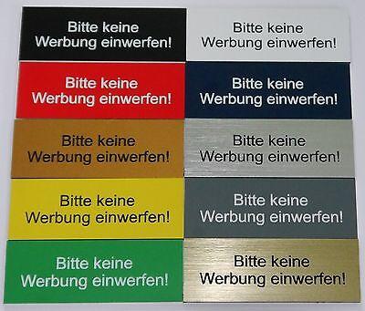 """25 Briefkastenschild Hinweisschild """"bitte Keine Werbung Einwerfen"""" Neueste Technik 5 10"""