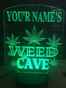 Marijuana Man Cave Custom Led Light Sign Seller Game Room personalized u.s