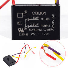 1pc Black CBB61 1.5uF+2.5uF 3 Wires AC 250V 50/60Hz Capacitor For Ceiling Fan