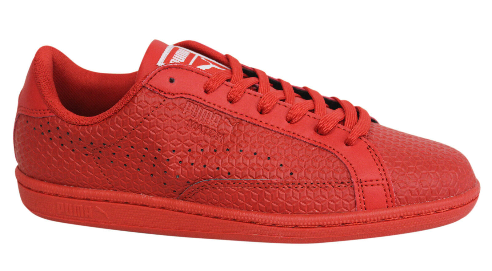 Puma Match Emboss Lace Up High Risk Red Synthetic Leather Trainers 362227 02 U12