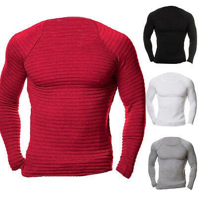 UK STOCK Men Sport Muscle Knit Fitness Crew Neck Jumper Gym T-Shirt Top Blouses