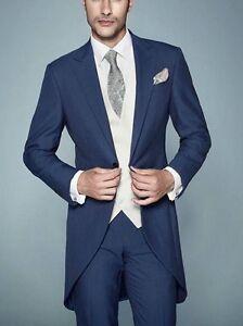 Custom Navy Morning Suit Bespoke Groom Best Men Wedding